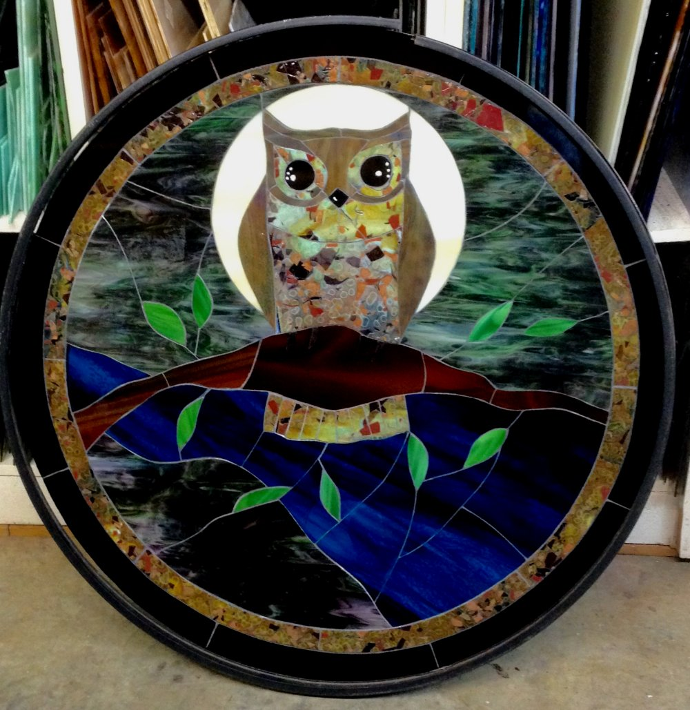 Mosaic owl table top